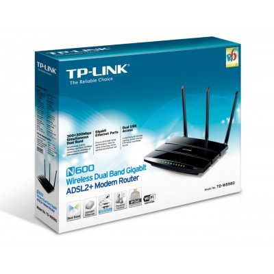 TP-LINK N600 Wireless Dual Band Gigabit ADSL2+ Modem Router TD-W8980