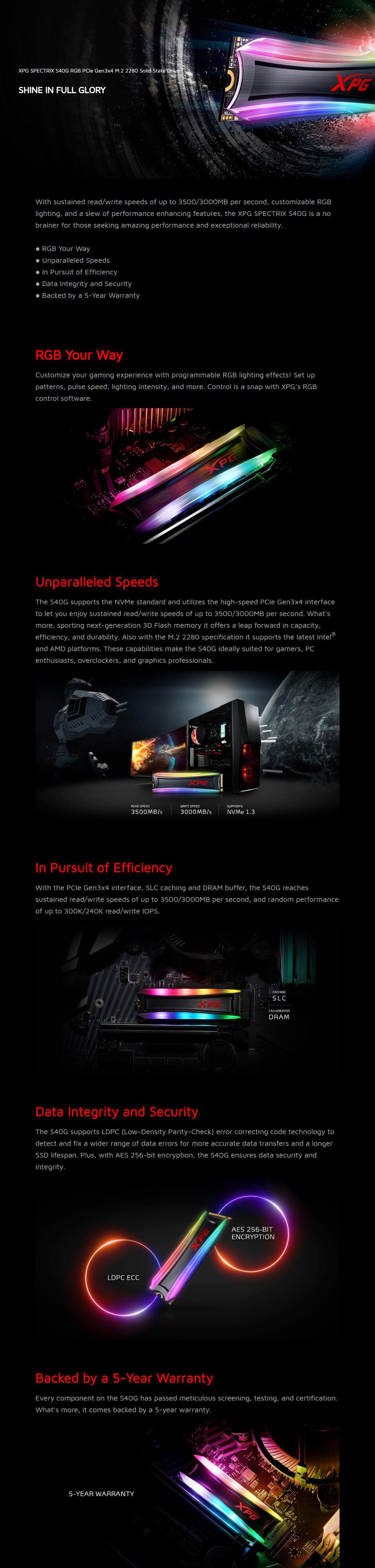 ADATA XPG Spectrix S40G RGB 512GB M.2 NVMe SSD
