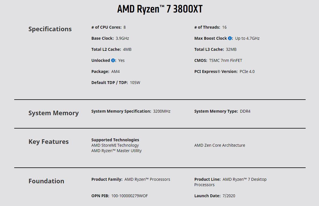 AMD Ryzen 7 3800XT (Base: 3.90GHz, Boost: 4.70GHz / 36MB Cache / AM4 / 8 Core / 105 Watt / No Heatsink Cooler / Matisse, RZ3KCPU)