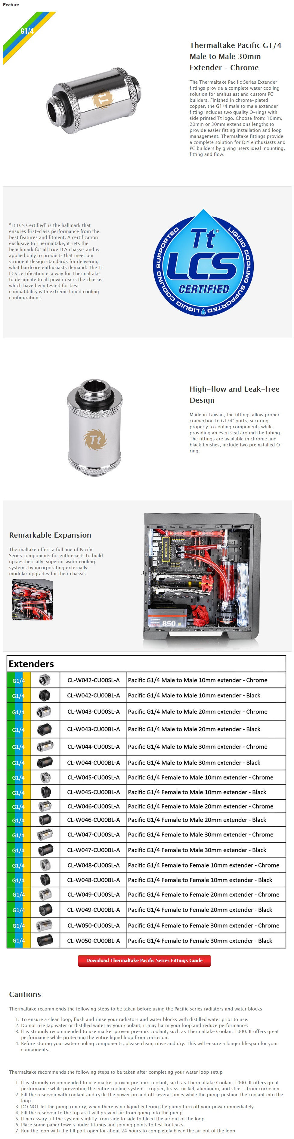 Thermaltake Pacific G1/4 Male to Male 30mm Extender - Chrome