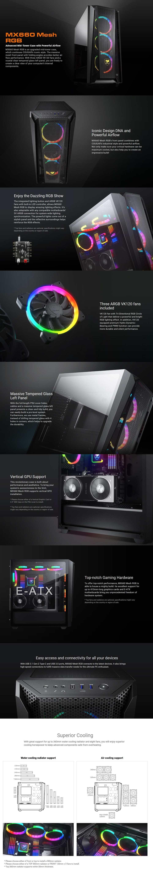 Cougar MX660 Mesh RGB Case 3x ARGB Fans, USB-C, TG