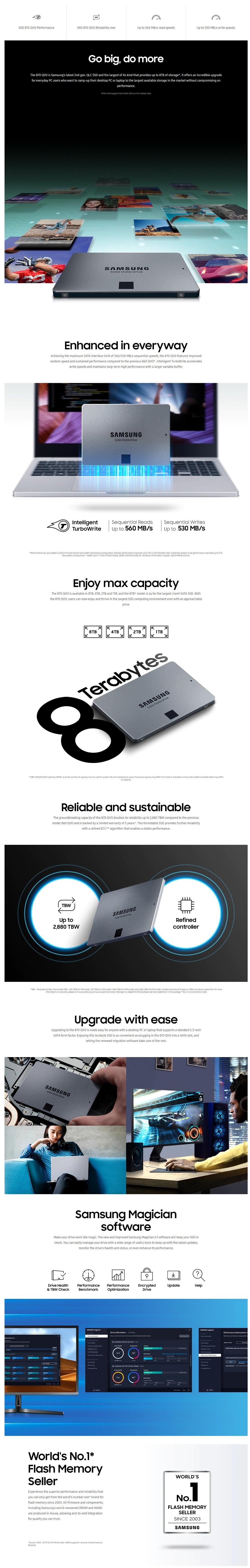 """Samsung MZ-77Q1T0BW 1TB 870 QVO 2.5"""" SSD"""