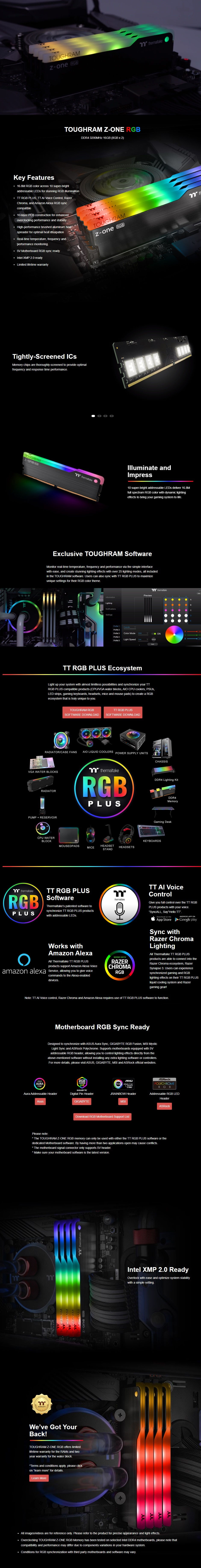 Thermaltake ToughRam Z-ONE RGB 16GB (2 x 8GB) DDR4 3200MHz CL16 Memory