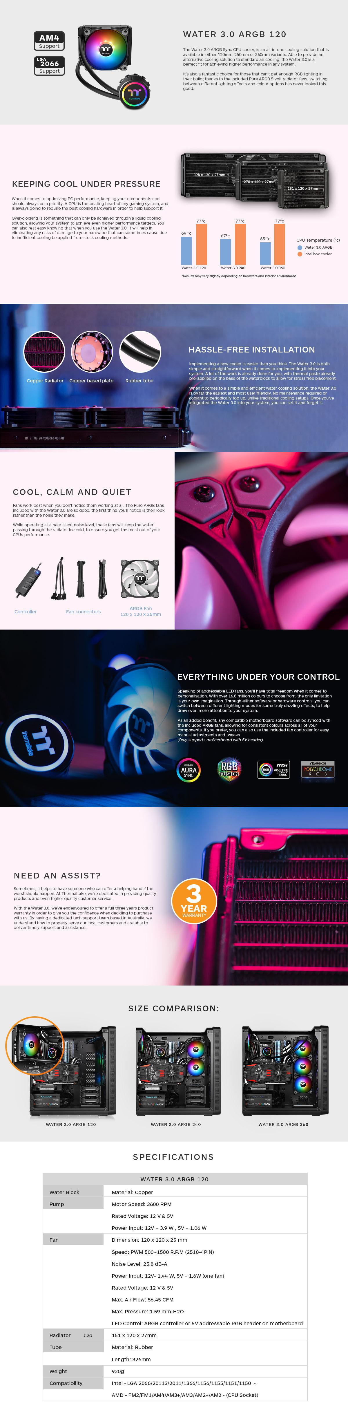 Thermaltake Water 3.0 120 ARGB Sync Edition AIO Liquid CPU Cooler